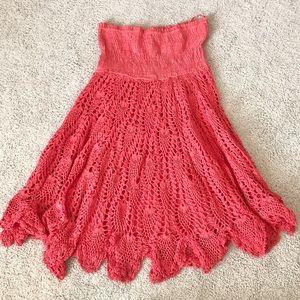 Raviya Coral Crochet Strapless Dress Sz Medium